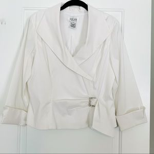 Xscape White Blouse with French Cuff